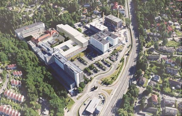 FREMTIDEN: Den lyse bygningen som står i en vinkel i midten er slik man ser for seg den nye klinikkbygningen på Radiumhospitalet.