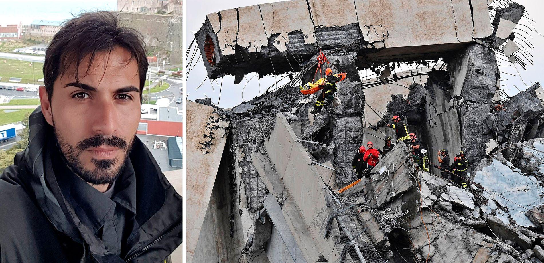HADDE FLAKS: Bilen til Davide Capello ble hengende fast i ruinene.