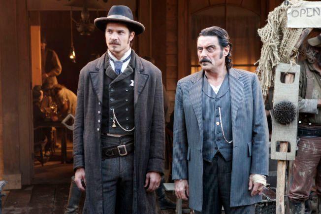 RIVALER: Timothy Olyphant som sheriff Seth Bullock og Ian McShane som skurken Al Swearengen.