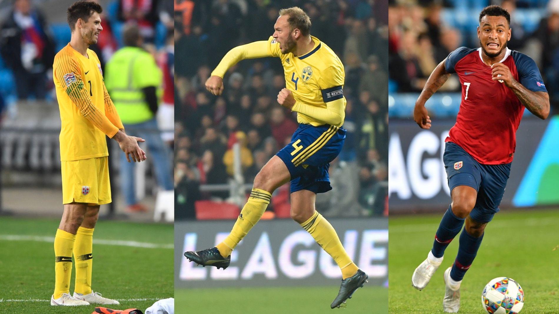 DOMINANTE: Rune Almenning Jarstein (til venstre), Andreas Granqvist og Joshua King tar alle en plass på laget i VGs felleslandslag mellom Norge og Sverige.