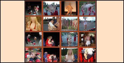 NETTPORNO: Bilder av lettkledd russ og andre bilder av ren pornografisk karakter ligger om hverandre på nettsiden. Foto: Skjermdump