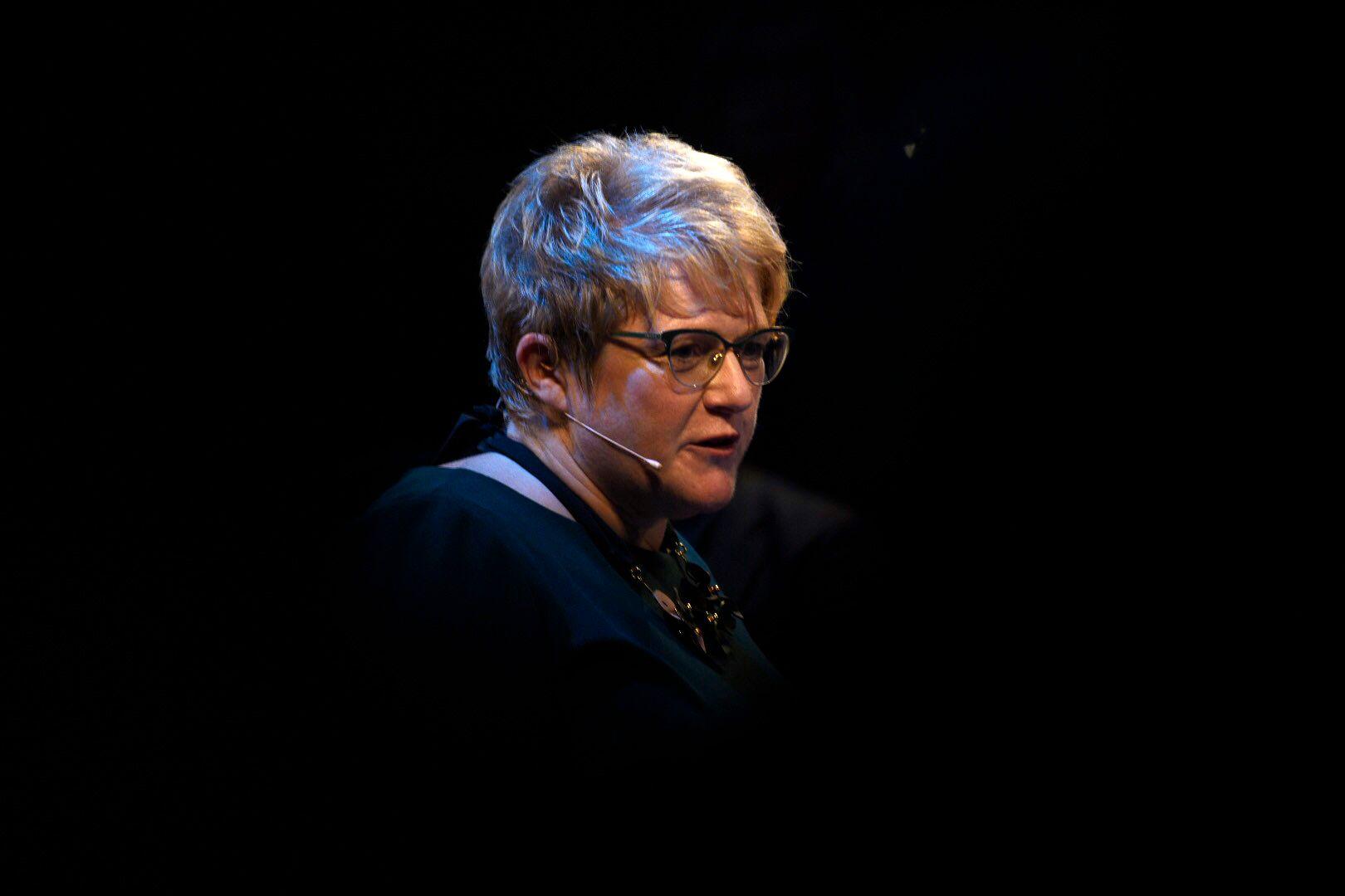 DRAMATIKKENS HUS: Trine Skei Grande presenterte mandag statsbudsjettet og sitt eget kulturbudsjett i Dramatikkens Hus. Det kan være mer drama i vente i KrF de neste ukene.