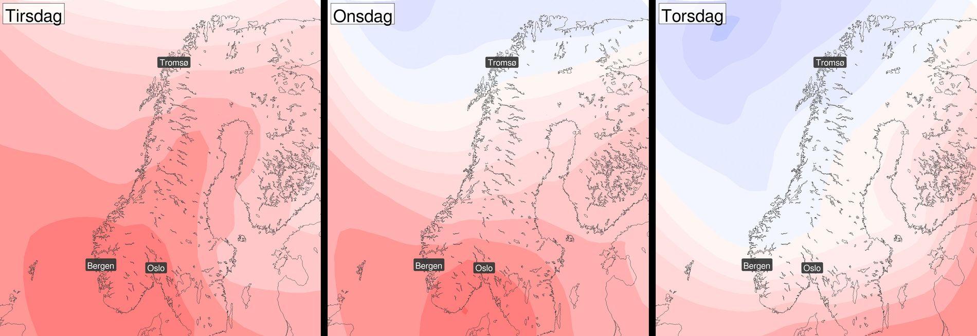 KULDE PÅ VEI: Slik ser temperaturkartet ut - fra tirsdag, onsdag og torsdag. Kulda er tilbake!