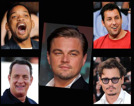 TJENER GODT: Leonardo DiCaprio, Johnny Depp, Adam Sandler, Will Smith og Tom Hanks var Hollywoods best betalte skuespillere i 2010. Foto: AP