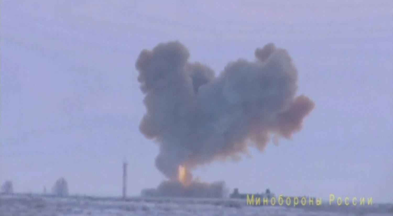 ATOMVÅPEN: Russlands forsvarsdepartement slapp onsdag den 26. desember en video av en test av det nye missilsystemet «Avantgarde».