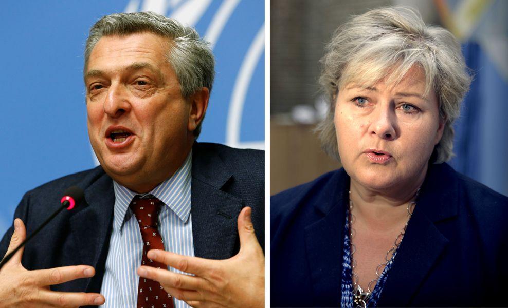LEDERE: FNs høykommissær for flyktninger, Filippo Grandi (til venstre), oppfordrer statsminister Erna Solberg (H) til å øke antallet kvoteflyktninger.