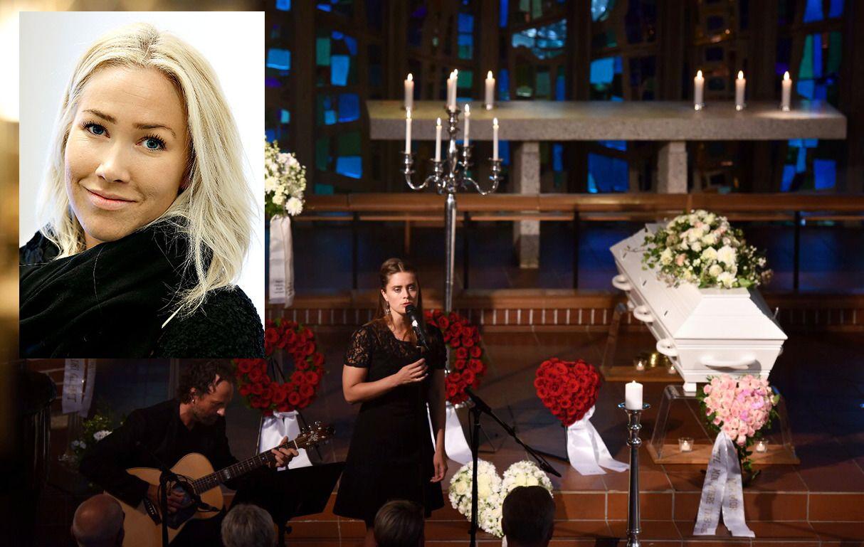 KISTEN: Thea Steens kiste i Hinna Kirke – omgitt av blomsterkranser med hilsener. Mareike Wang var solist under seremonien.