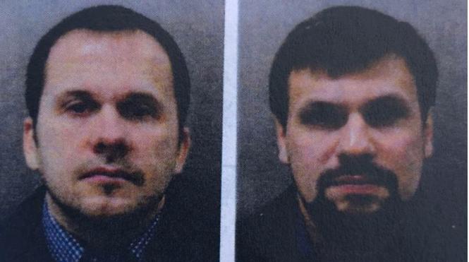 ALIAS: De to russerne Aleksandr Petrov og Ruslan Boshirov er siktet for å stå bak forgiftningen av den tidligere spionen Sergej Skirpal og datteren Julia. Politiet antar at navnene er alias, ifølge BBC.