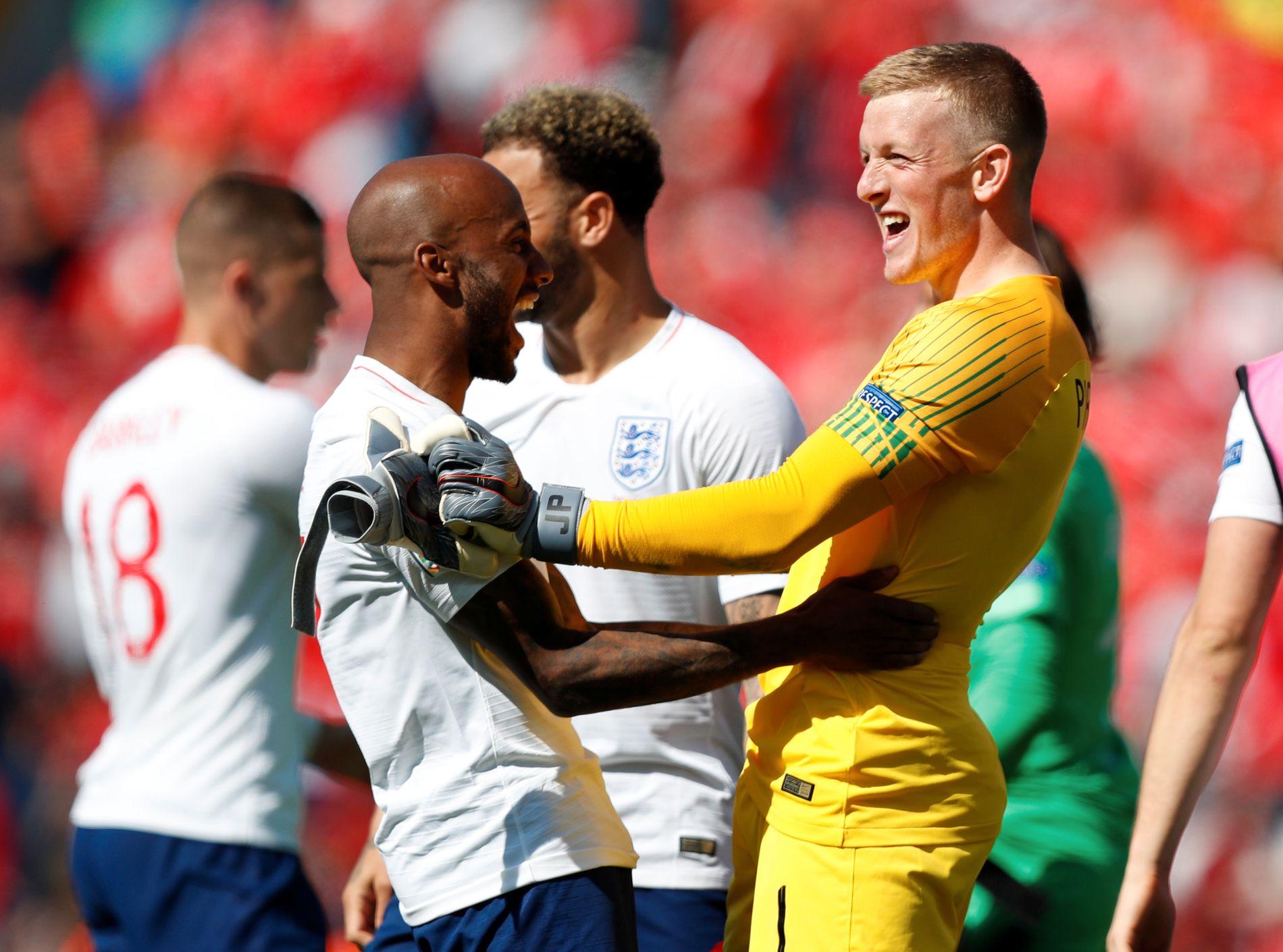 ENGLAND-HELT: Jordan Pickford både scoret og reddet straffe da England vant bronsefinalen i Nations League.