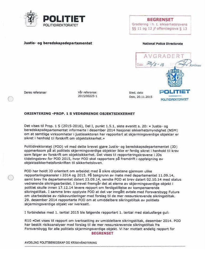 BREVET FRA POD: Her er brevet Politidirektoratet sendt til Justisdepartementet 20. november 2015.