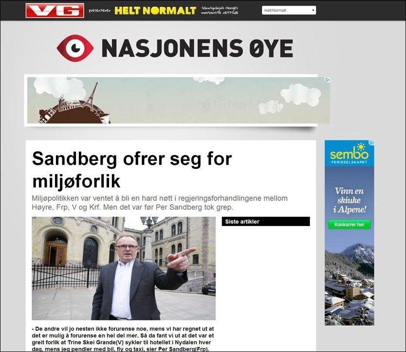 SKRÅBLIKK: Første mann ut i «Nasjonens øye» er Fremskrittspartiets Per Sandberg som i dag «ofrer seg for miljøforlik». Faksimile fra heltnormalt.no