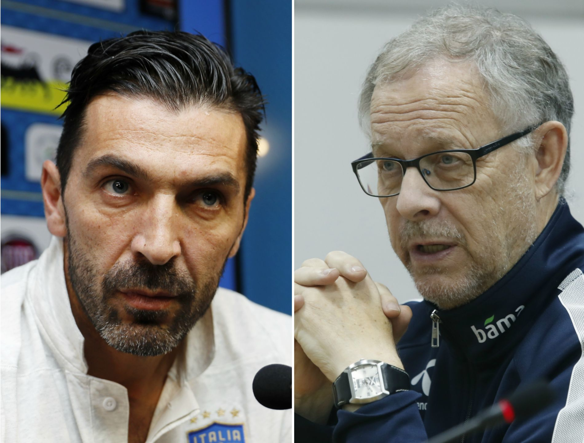 I TRØBBEL: Italia og Gianluigi Buffon (t.h.) er i en ugunstig posisjon før returkampen mot Sverige. Det gleder Lars Lagerbäck (t.v.) seg over.