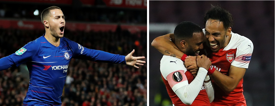 VIDERE: Eden Hazards Chelsea og Arsenal gikk begge videre til semifinale i Europa League.
