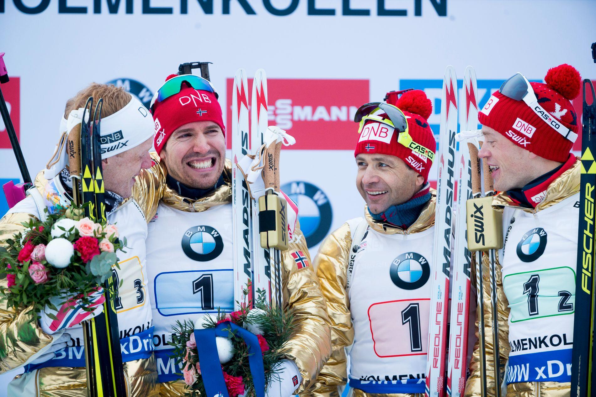 GULLGUTTER: Fire har nå blitt til to, etter at både Emil Hegle Svendsen (i midten t.v.) og Ole Einar Bjørndalen (i midten t.h.) har valgt å legge opp som skiskyttere. Her har de vunnet gullet på stafetten under VM i Oslo i 2016.