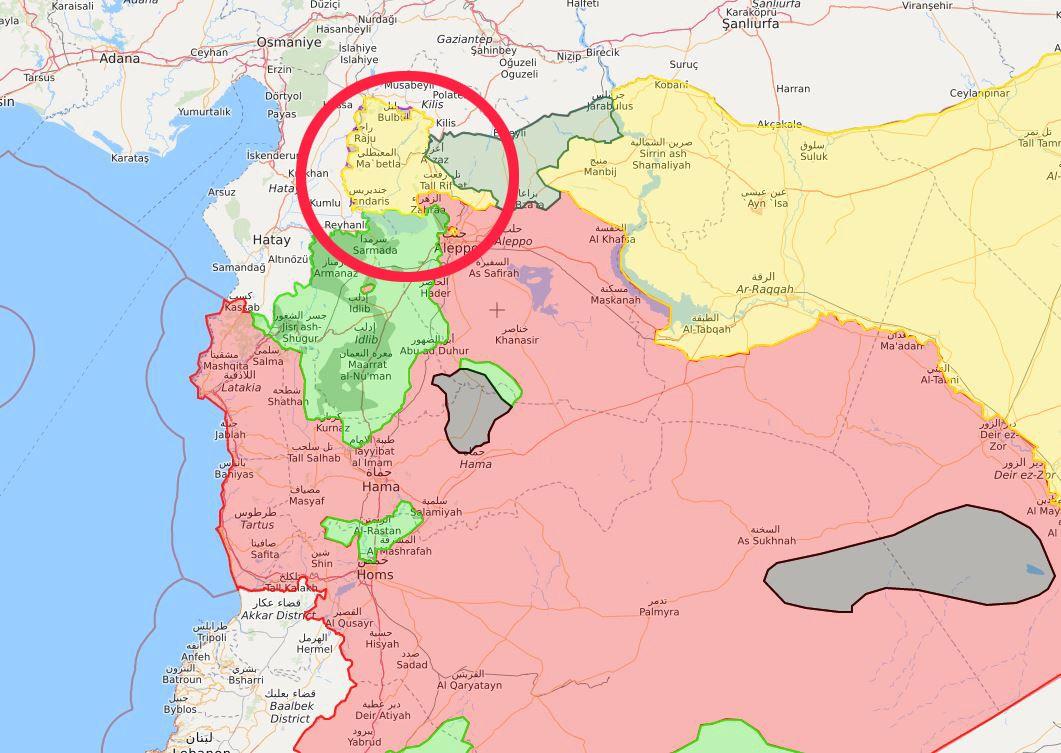 KOMPLEKS KRIG: Det er i det gule området markert med rød ring at kampene nå foregår. Det røde området er kontrollert av det syriske regimet og deres allierte. Det grønne kontrolleres av den syriske opposisjonen, mens det gule er kontrollert av kurdiske styrker. Det mørkegrønne området er kontrollert av tyrkiske styrker og deres allierte. De små grå områdene er fortsatt kontrollert av IS.