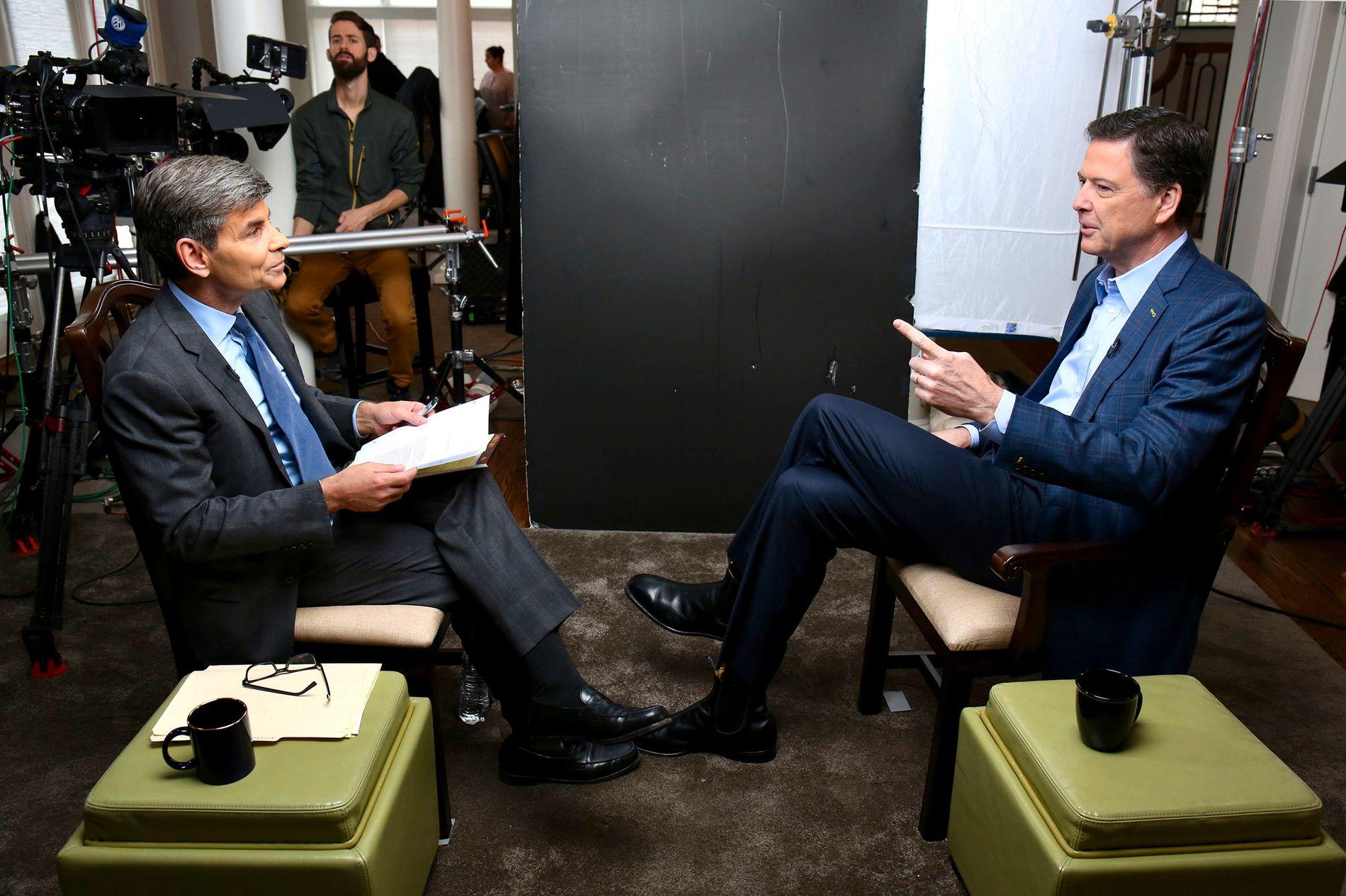 SNAKKER UT: Et intervju med James Comey ble sendt på ABC i USA i natt.