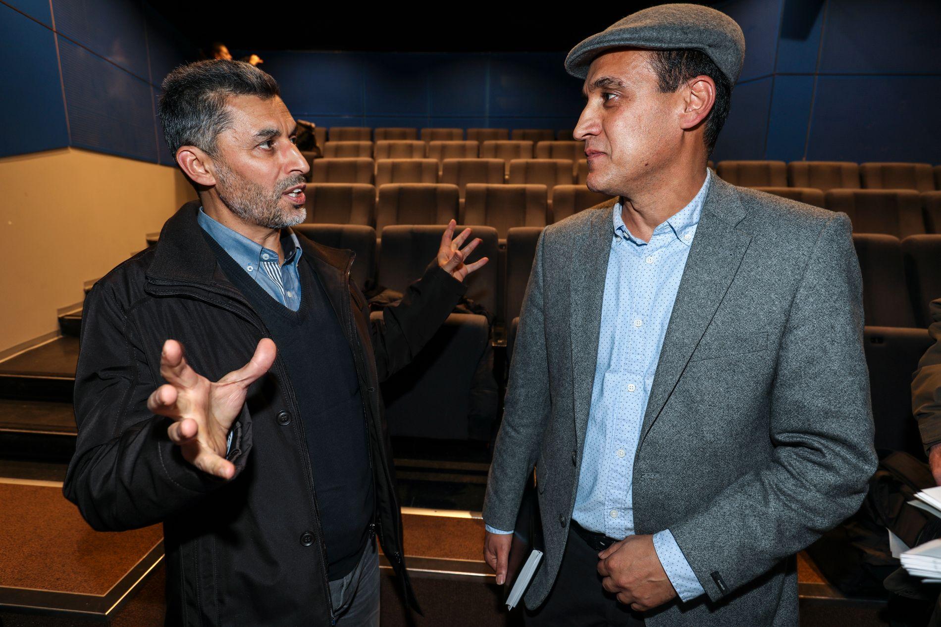MOSKÉ-LEDER MØTTE FORSKER: Styreleder Basim Ghozlan i Det Islamske Forbundet, som driver Rabitamoskéen i Oslo, møtte forskeren Masoud Ebrahimnejad (til høyre) under presentasjonen av sistnevntes moské-kartlegging.