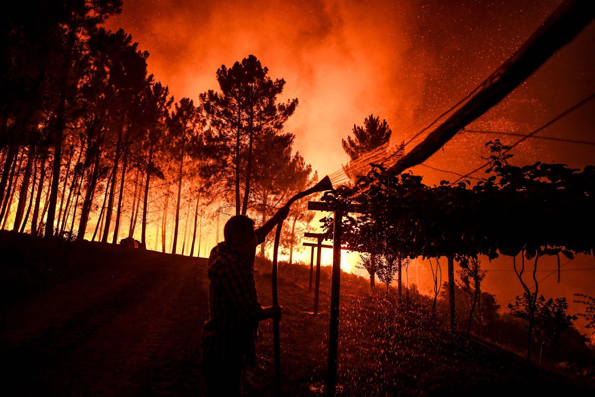 KAMP MOT BRANNEN: En beboer prøver å holde flammene unna huset sitt i Amendoa.
