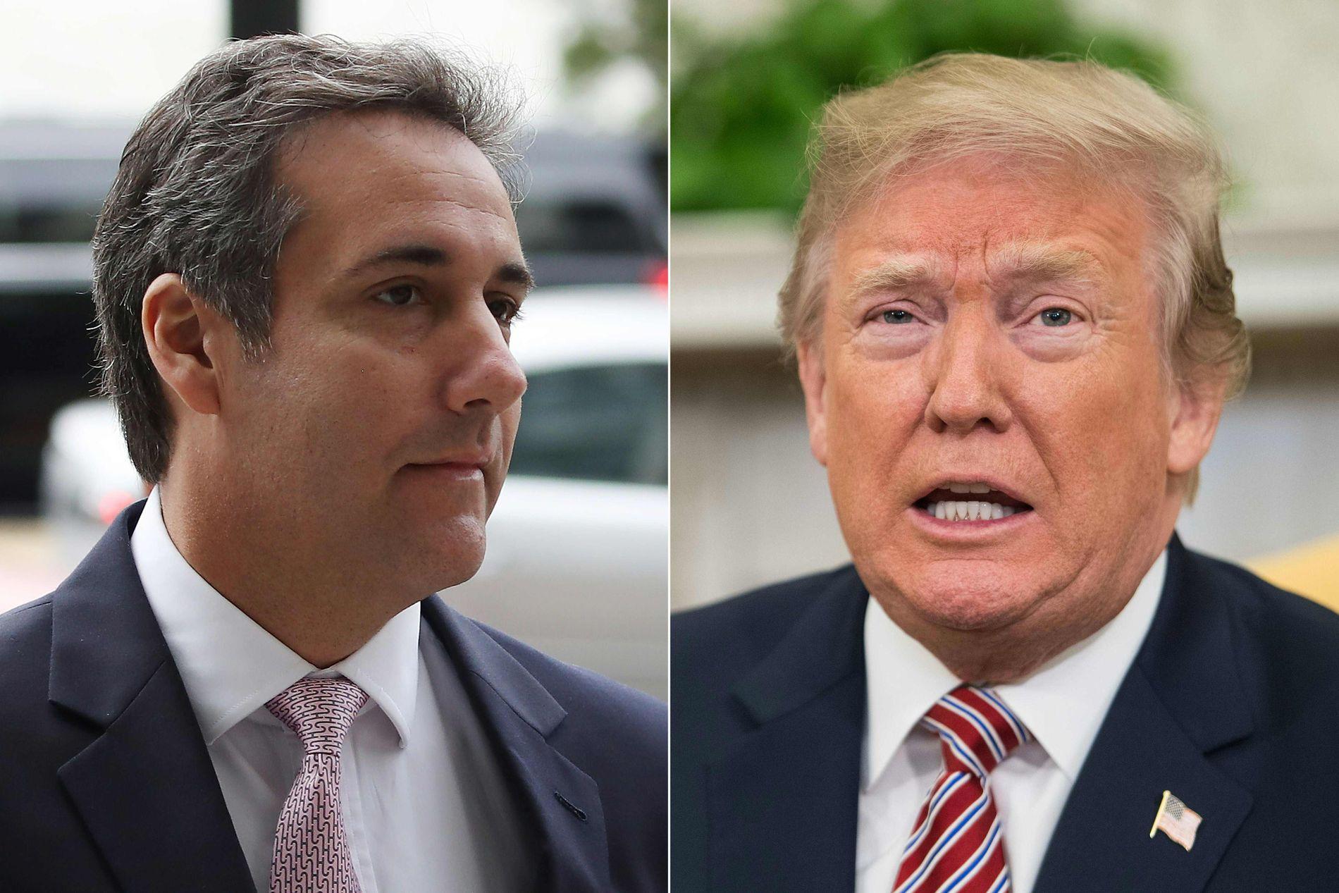 I ORDKRIG: Bildet viser Trump (h) og hans tidligere personlige advokat Michael Cohen.