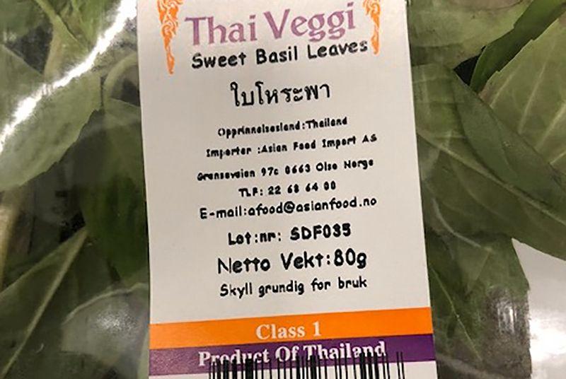 Asian Food Import AS trekker tilbake basilikum fra Thailand på grunn av funn av E. coli. Foto: Mattilsynet / NTB scanpix