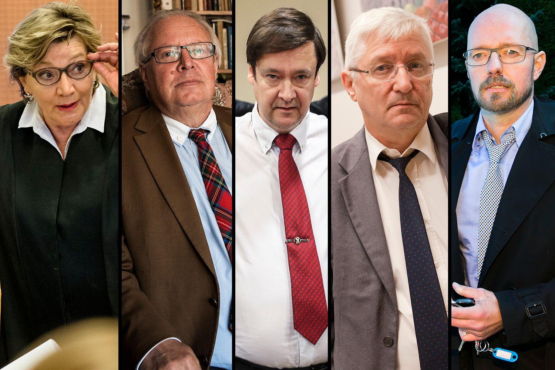 REAGERER: Karen Forbrigd, Frithjof Feydt, John Christian Elden, Arvid Sjødin og Petter Bonde er blant advokatene som reagerer på det de mener er for lang tidsbruk i Lime-saken.
