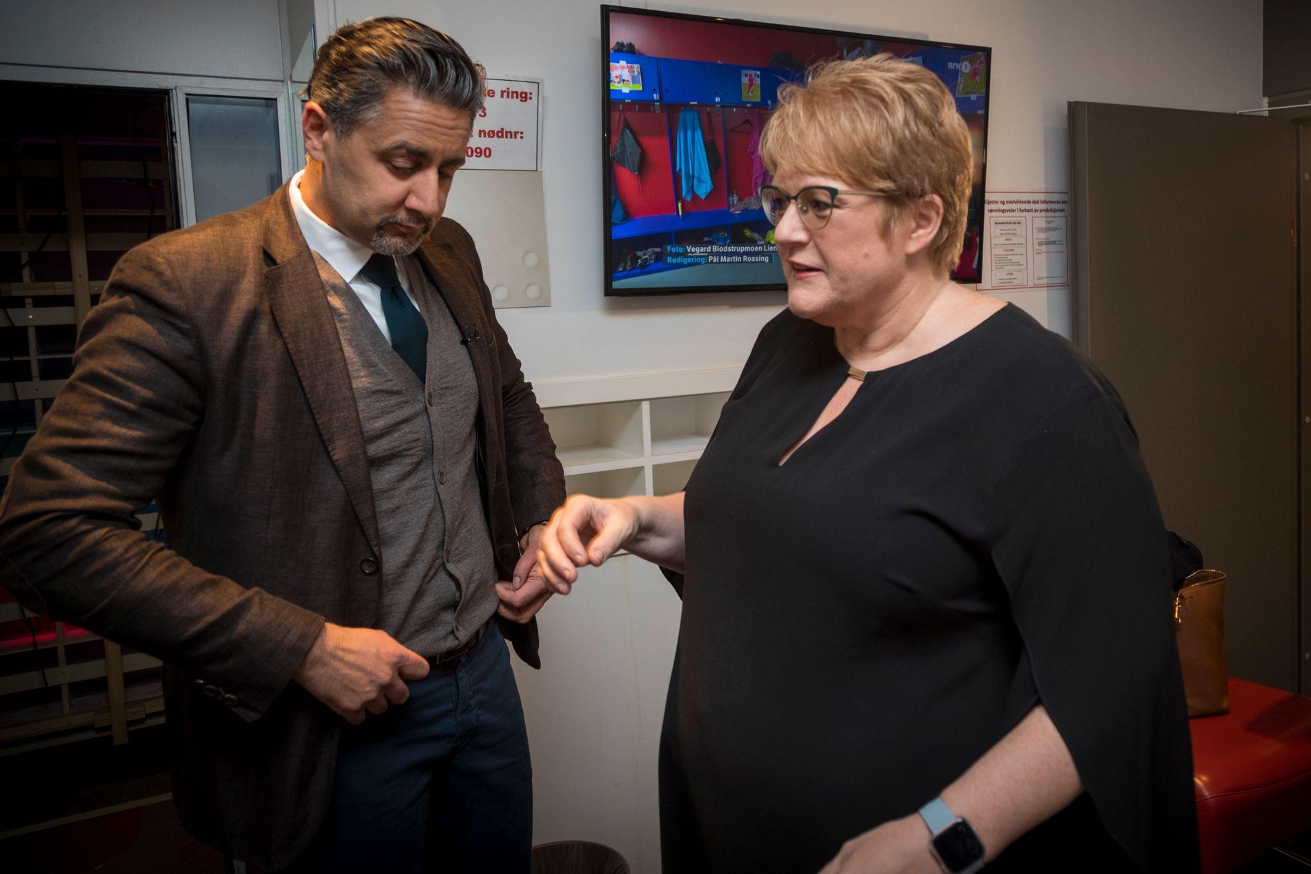 HAR SKVÆRET OPP: Venstre-profilene Abid Raja og Trine Skei Grande møtte på NRKs «Debatten» torsdag kveld for å snakke ut.