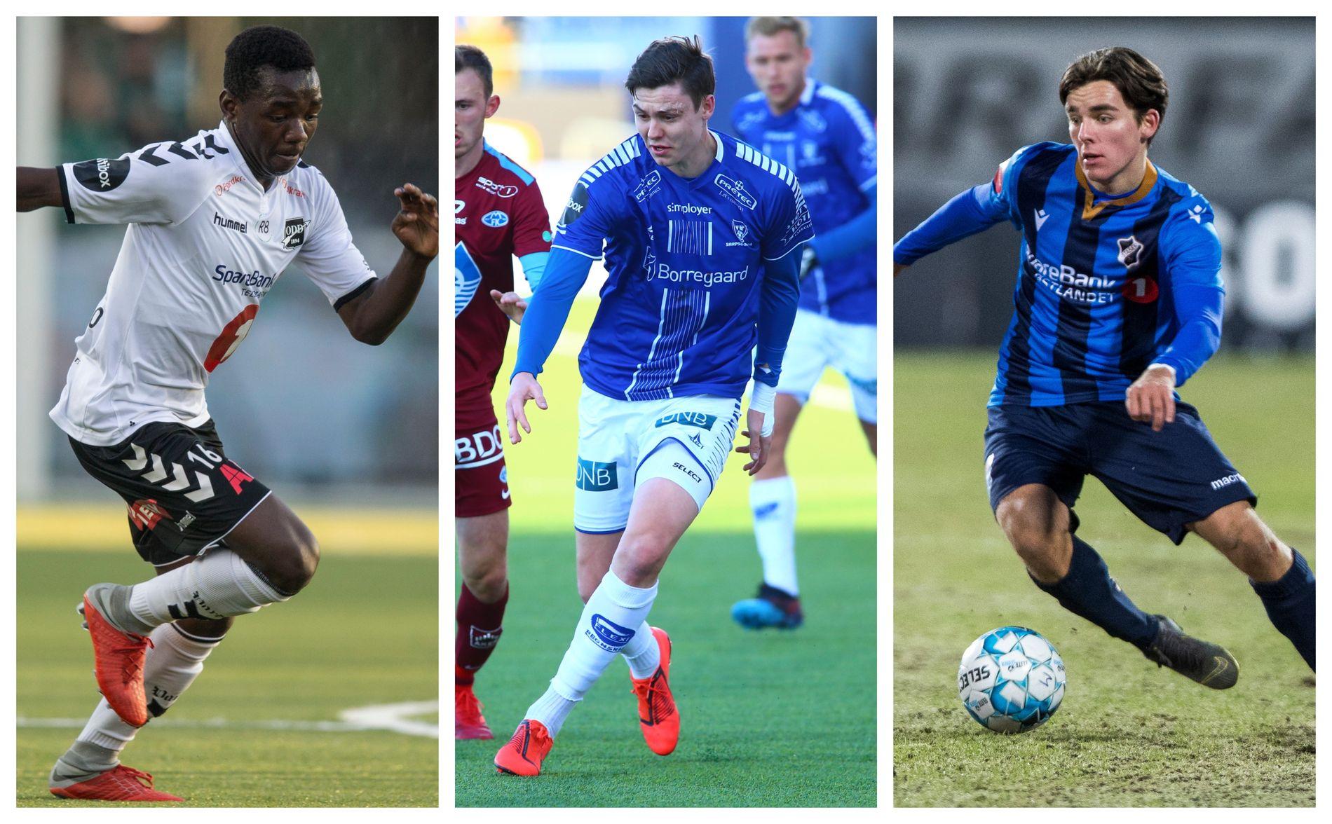 FORSVINNER: Odds Joshua Kitolano, Sarpsborg 08s Jørgen Strand Larsen og Stabæks Hugo Vetlesen er blant spillerne som trolig reiser til mesterskap i mai og juli.