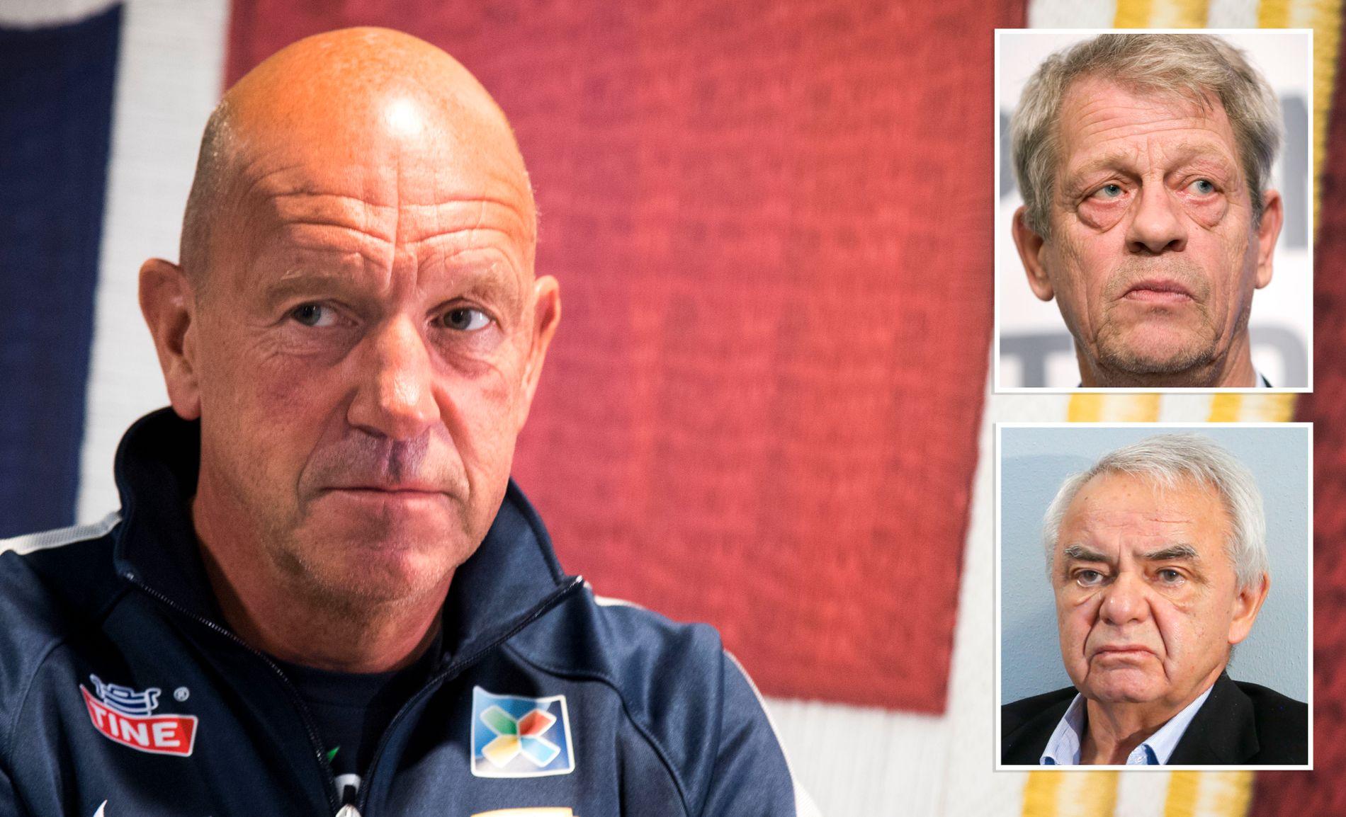 TAUSE OM SEMB: De tidligere NFF-presidentene Sondre Kåfjord og Per Ravn Omdal (innfelt) ønsker ikke å uttale seg om jobben til toppfotballsjef Nils Johan Semb.