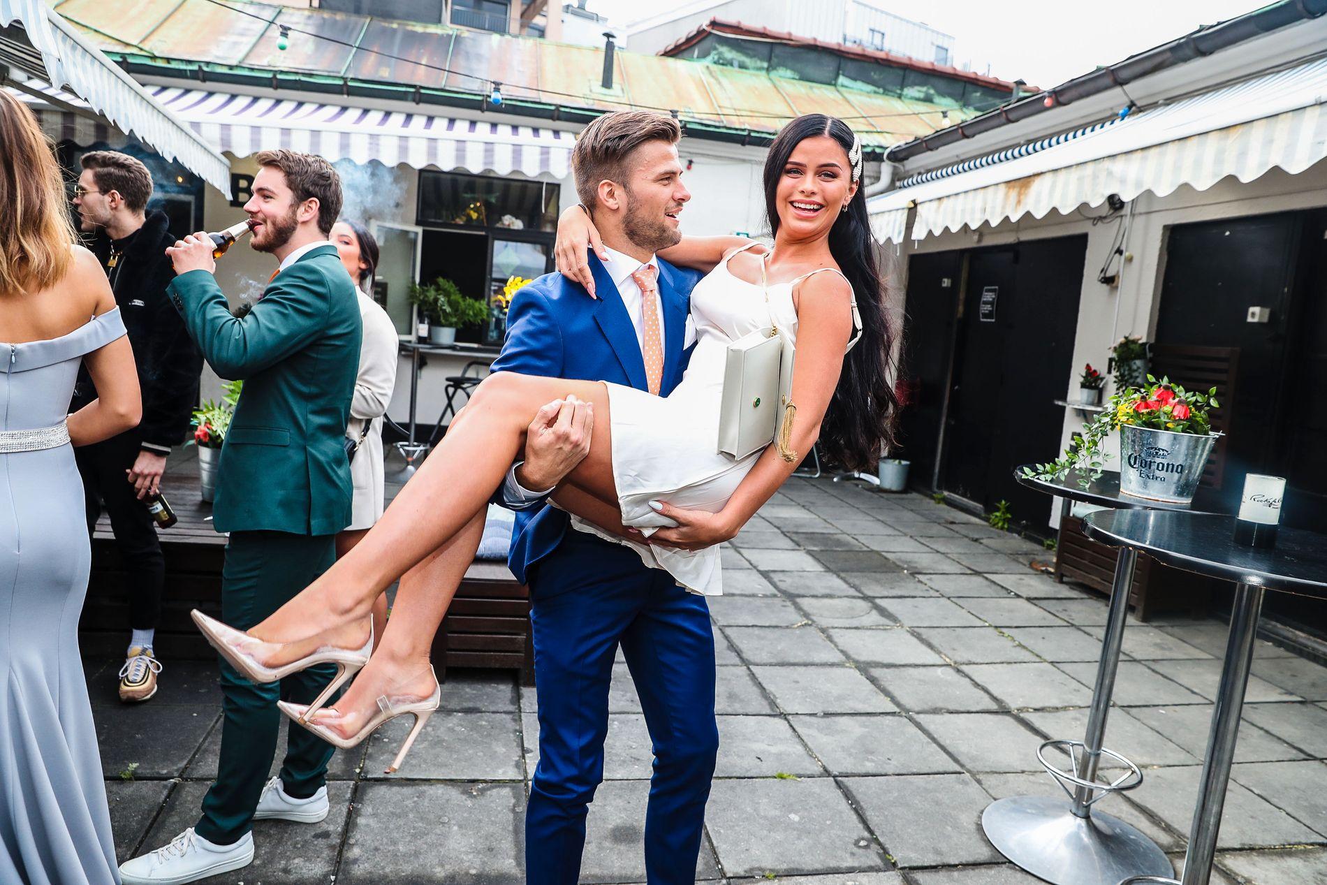 NYTT PAR: Mario Riera og Sofie Karlstad på finalefesten torsdag.