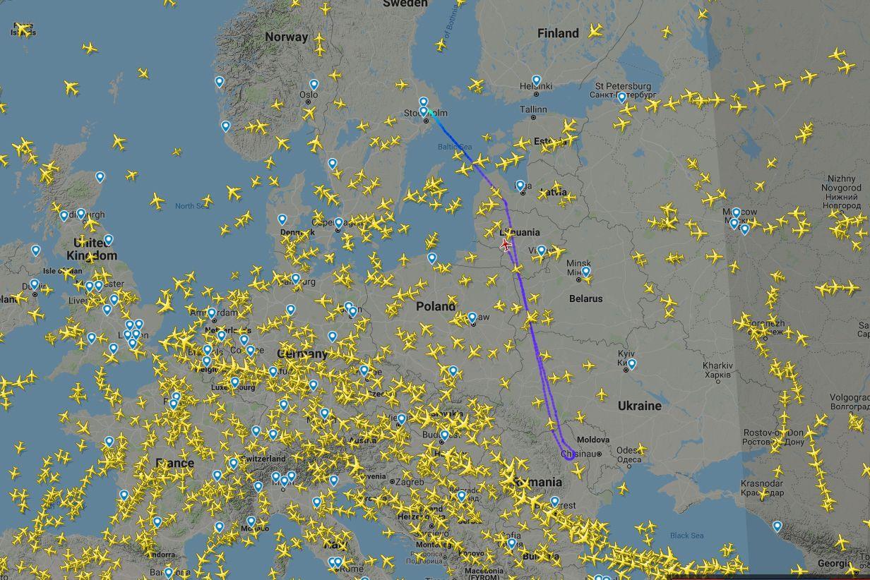 FLYET SNUDDE:Et Norwegian-fly fra Stockholm til Tel Aviv har snudd i luften, ifølge Flightradar24.