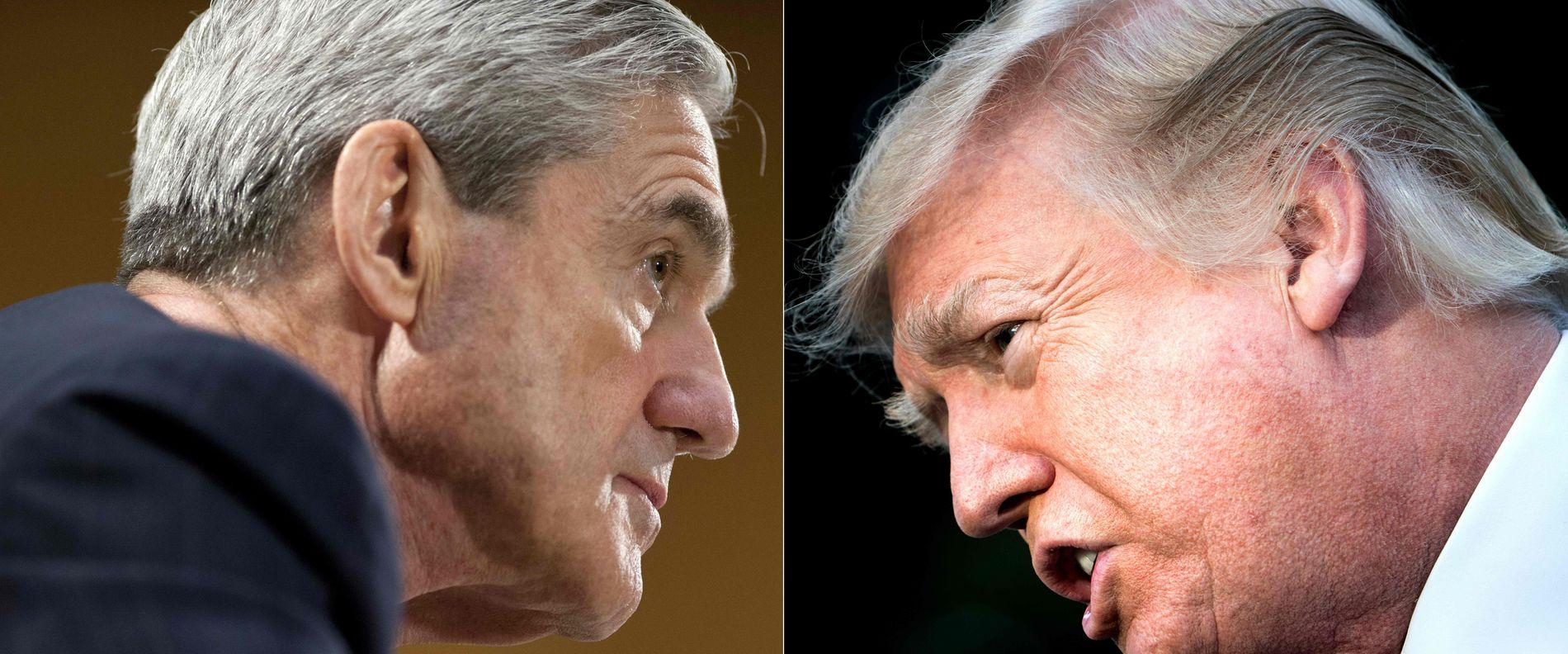 RAPPORT SLIPPES I DAG: President Donald Trump (t.h.) har allerede uttalt gjentatte ganger at Robert Mueller (t.v.) har frifunnet ham.