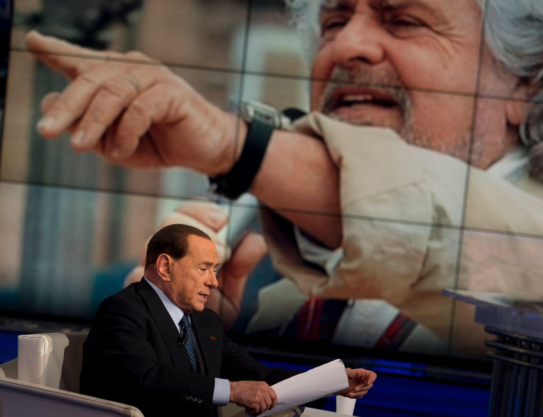 STEMMESANKERE: Silvio Berlusconi og Beppe Grillo er mektig populære i egne rekker. Men ingen av dem kan velges.