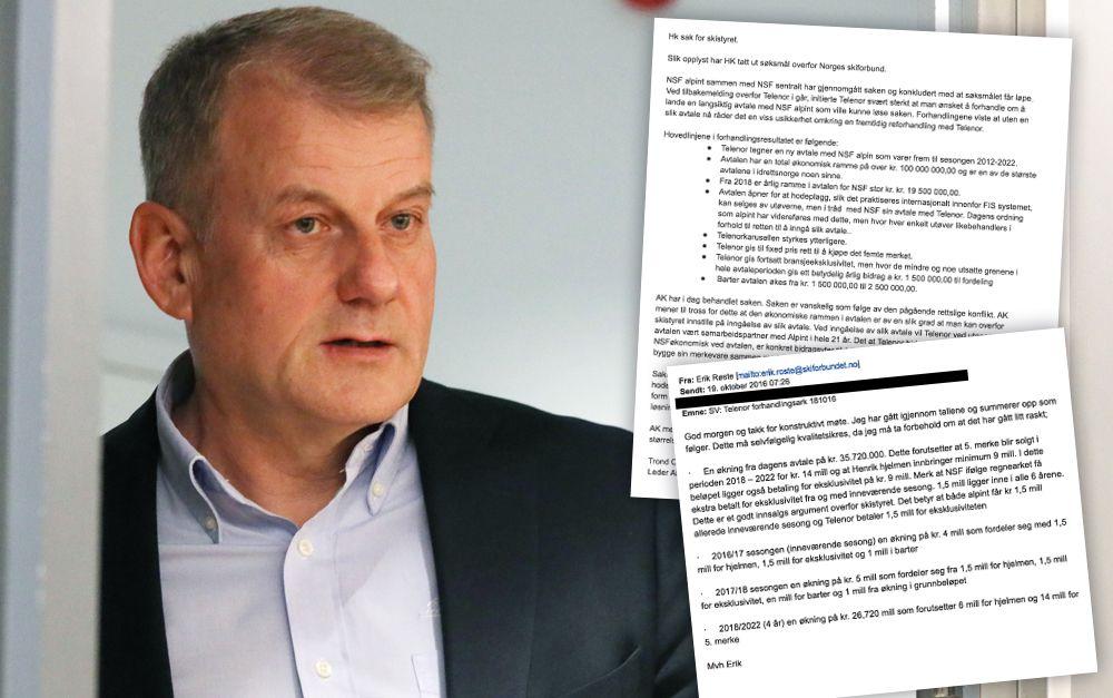 SKIPRESIDENT: Erik Røste og skiforbundet møter Henrik Kristoffersen i retten.