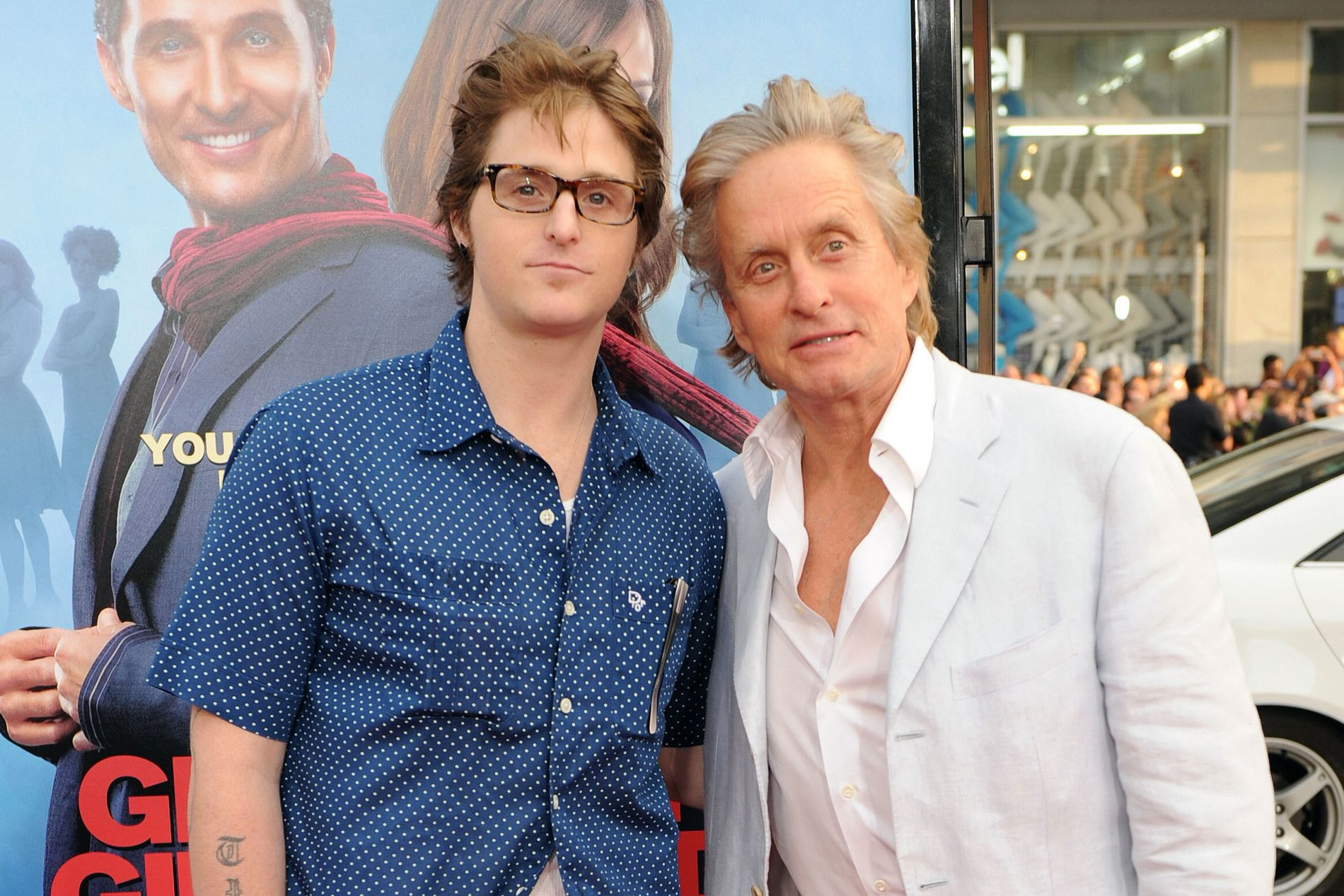 FAR OG SØNN PÅ PREMIERE: Michael Douglas og sønnen Cameron fra en premiere i 2009, året før Cameron ble arrestert og fengslet for narkotikaforbrytelser.