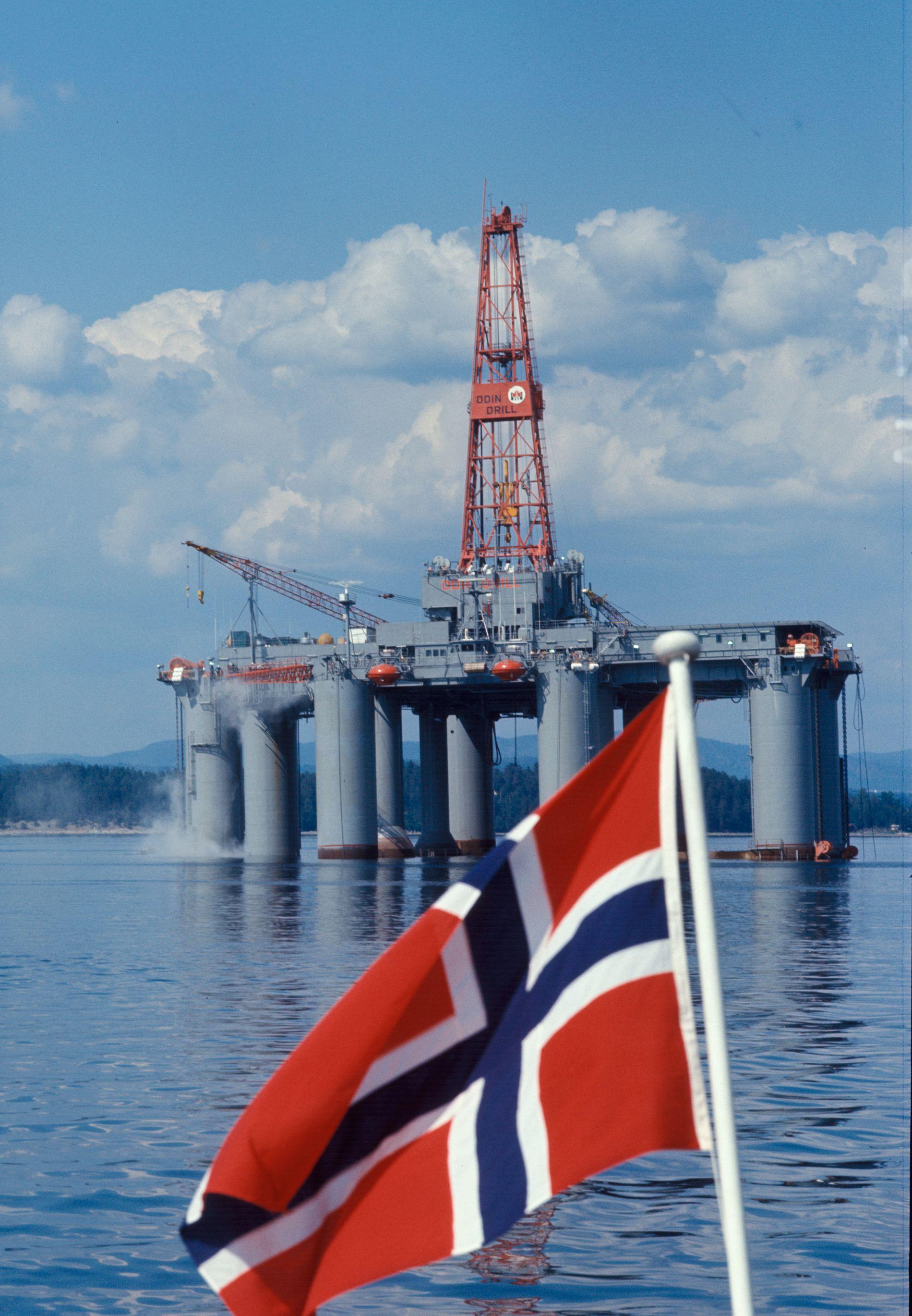 FRA STARTEN AV EVENTYRET: Oljeboringsplattformen Odin Drill på Oslo havn i 1974.