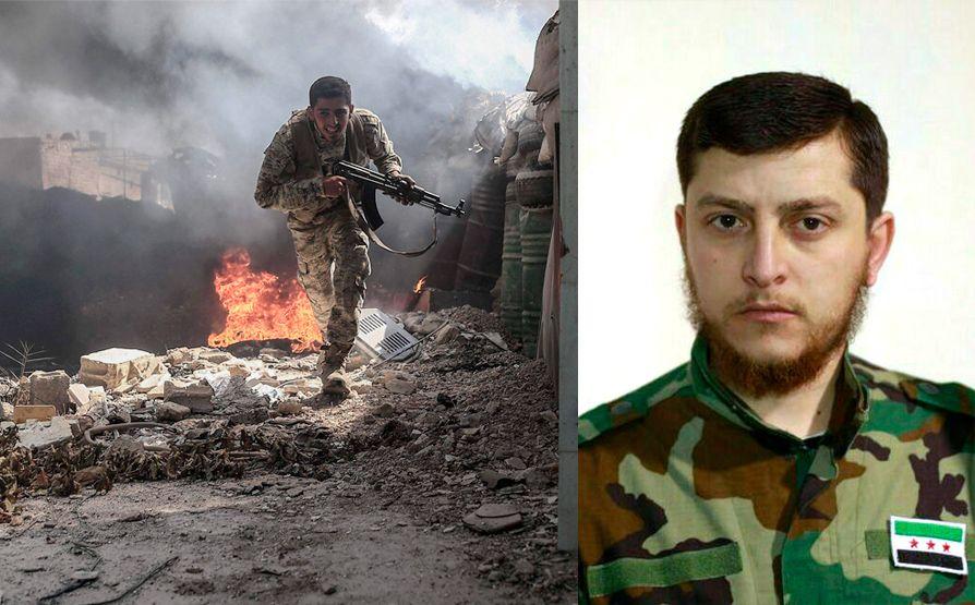LANGVARIG KRIG: Til høyre: Hamza Beiraqdar, brigader og talsmann for Jaish al-Islam. Til venstre: En opprørskriger fra Jaish al-Islam fotografert under kamp i Douma i Øst-Ghouta i september 2016. Foto: AFP