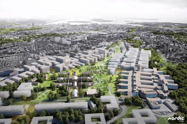STORE PLANER: Skissen fra Nordic Office of Architecture viser et sykehus som strekker seg over en stort område sør for Rikshospitalet.