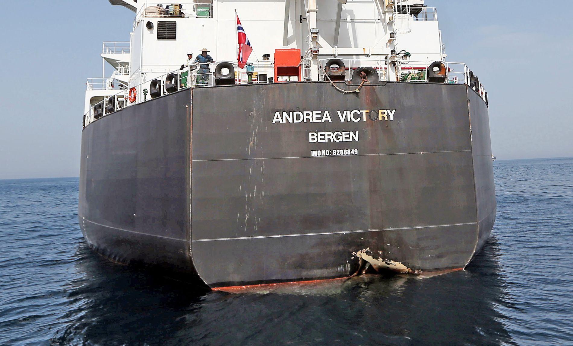 SABOTASJE: Magnetiske miner ble trolig festet like over vannlinjen til norskeide «Andrea Victory» og tre andre oljetankere 12. mai. Iran er mistenkt for å stå bak angrepet.