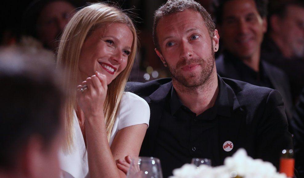 STJERNEPAR: Gwyneth Paltrow og Chris Martin sammen på Sean Penn veldedighetskveld for Haiti i januar. Foto: Colin Young-Wolff, Ap
