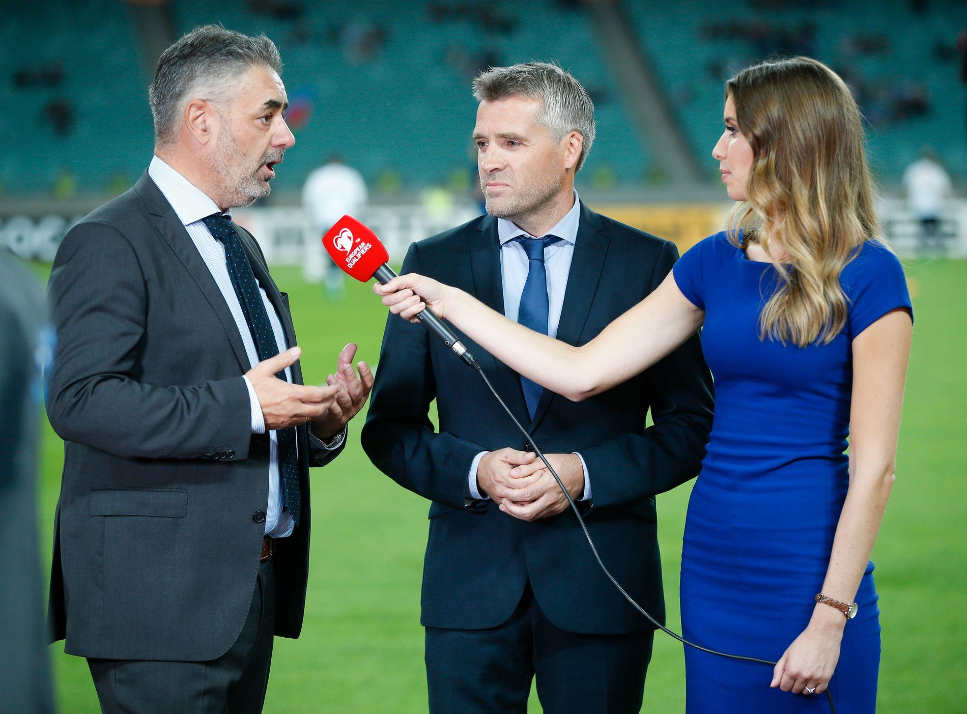 – SANDEFJORD FORTAPT: Eurosport-kommentator Kenneth Fredheim, til venstre, føler seg trygg på at Sandefjord må spille 1. divisjonsfotball i 2018. Her med Tor Ole Skullerud og Susanne F. Wergeland.
