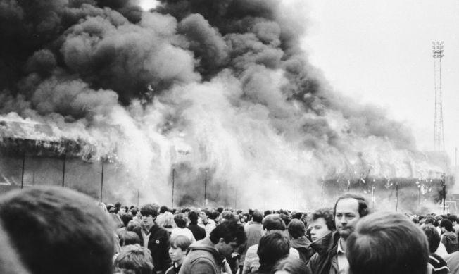 INFERNO: Slik så det ut maidagen i 1985, da 56 mennesker mistet livet i dødsbrannen på Valley Parade.