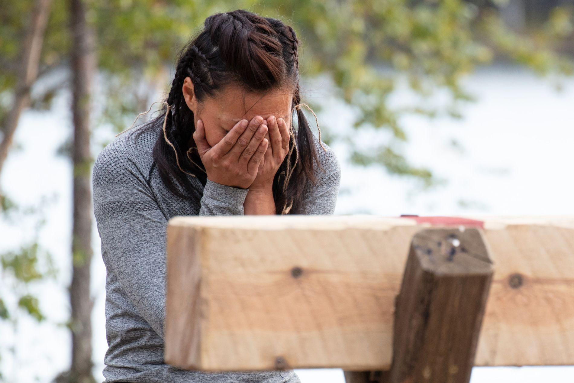 TÅREVÅTT: Stjørdalsjenta Irene klarte ikke helt å holde tårene tilbake etter å ha vunnet søndagens tvekamp.