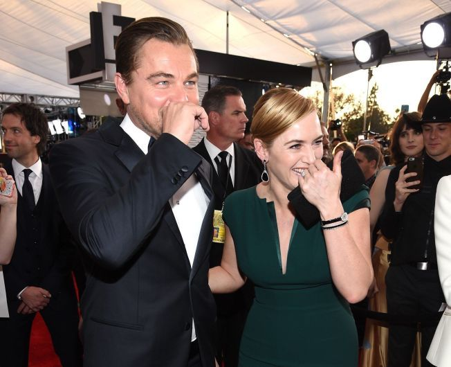 GOD STEMNING: Leonardo DiCaprio og Kate Winslet på Screen Actors Guild Awards i The Shrine Auditorium i Los Angeles i helgen.