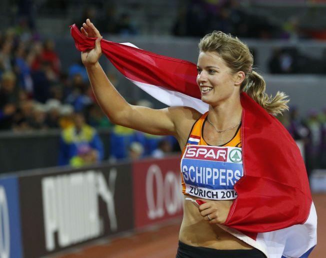 GOD SOM GULL: Dafne Schippers (22) vant VM-bronse i mangekamp i Moskva i fjor. For to uker siden vant hun EM-gull på100 meter (bildet) og 200 meter i Zürich. Torsdag kveld er hun publikumsfavoritt samme sted - på 100 meter - under Diamond League-stevnet på Letzigrund stadion.