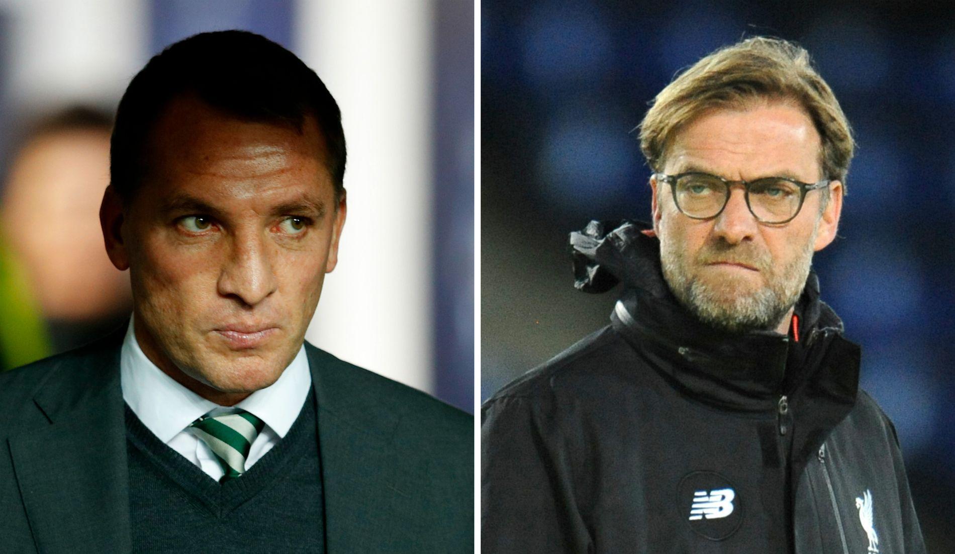 BRENDAN I LEDELSEN: Tidligere Liverpool-manager Brendan Rodgers (t.v.) tok flere poeng enn Jürgen Klopp på sine 55 første Premier League-kamper med Liverpool.