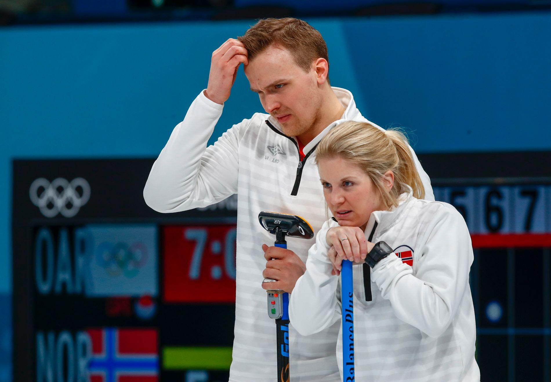 TILBAKE: Magnus Nedregotten og Kristin Moen Skaslien tapte bronsefinalen mot Russland, men etter kampen har det blitt kjent at Aleksander Krusjelnitskij var dopet. Nå reiser paret