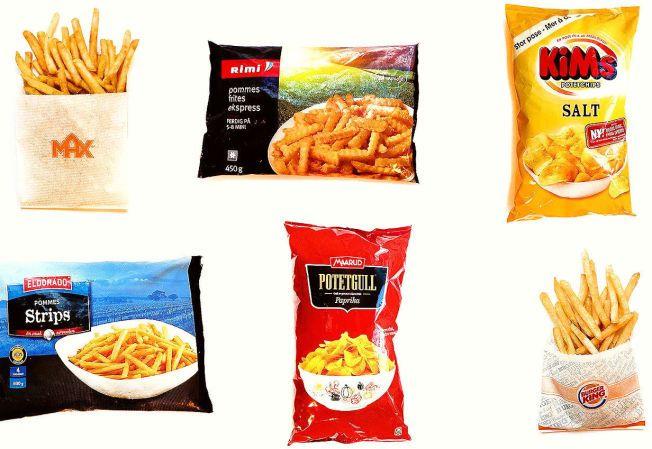 HELSERISIKO: Forbrukerrådet har fått analysert et utvalg av potetprodukter fra burgerkjeder og dagligvarekjeder. Testen viser at pommes frites og potetchips fortsatt inneholder for mye av det kreftfremkallende stoffet akrylamid.