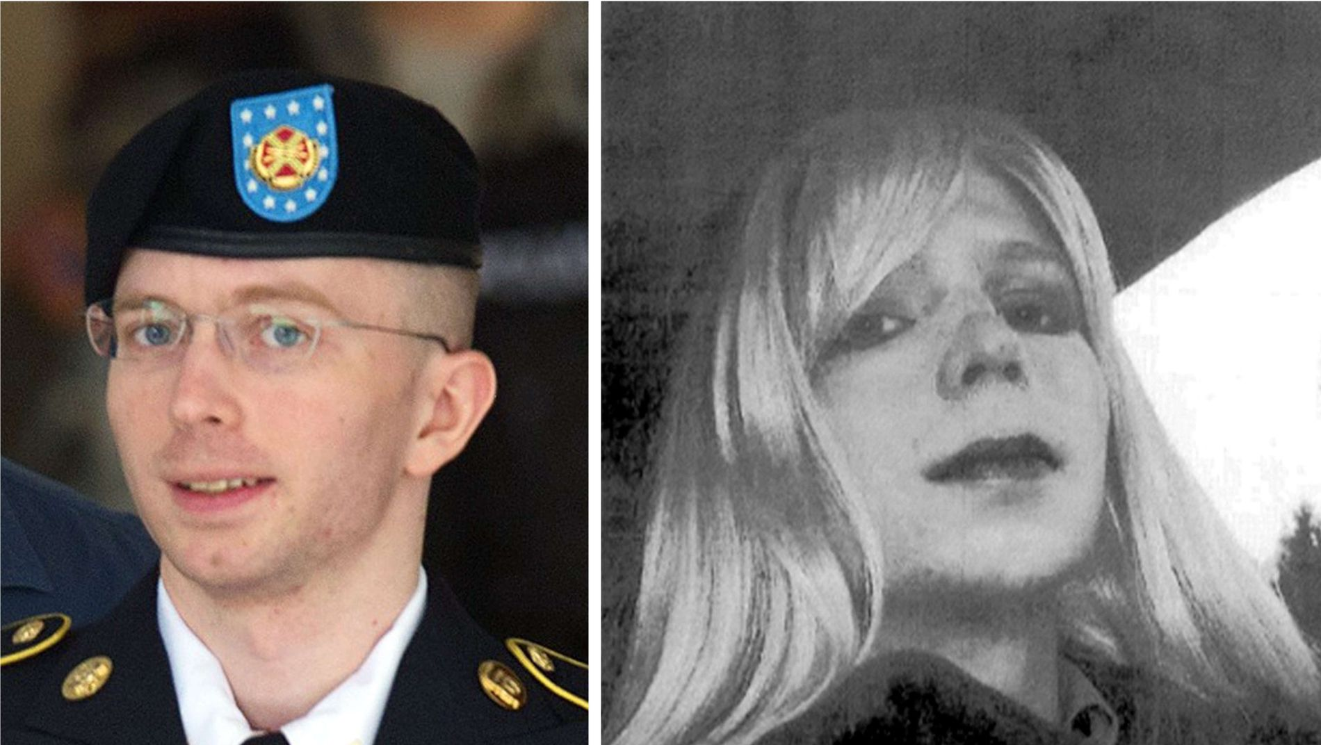 VIL SKIFTE KJØNN: Bildet til venstre viser Bradley Manning i 2013, mens bildet til høyre er et udatert bilde av Chelsea Manning.