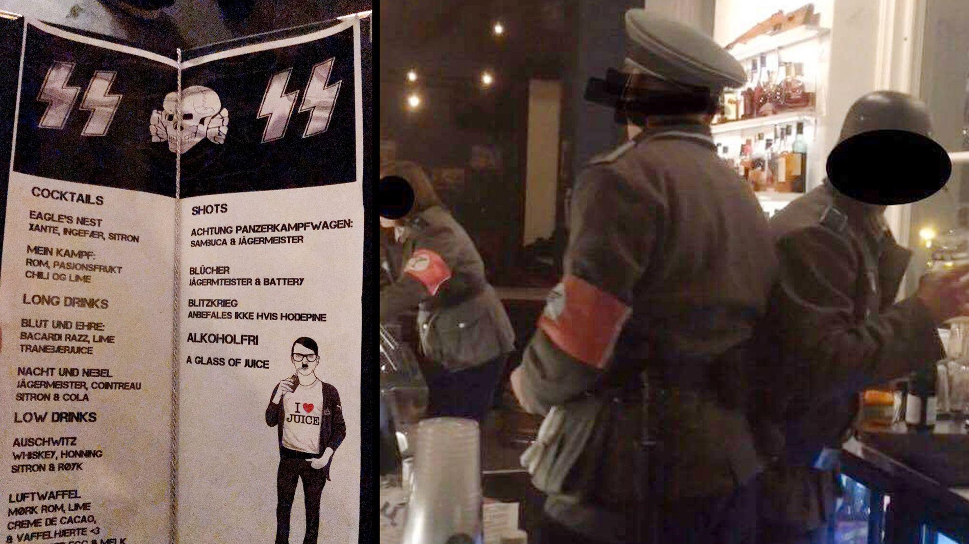 NAZI-FEST: Bartendere ikledd uniformer og drinker med navn som «Auschwitz» var en del av festen som ble avholdt på Studentersamfundet i Trondheim lørdag. Foto: PRIVAT