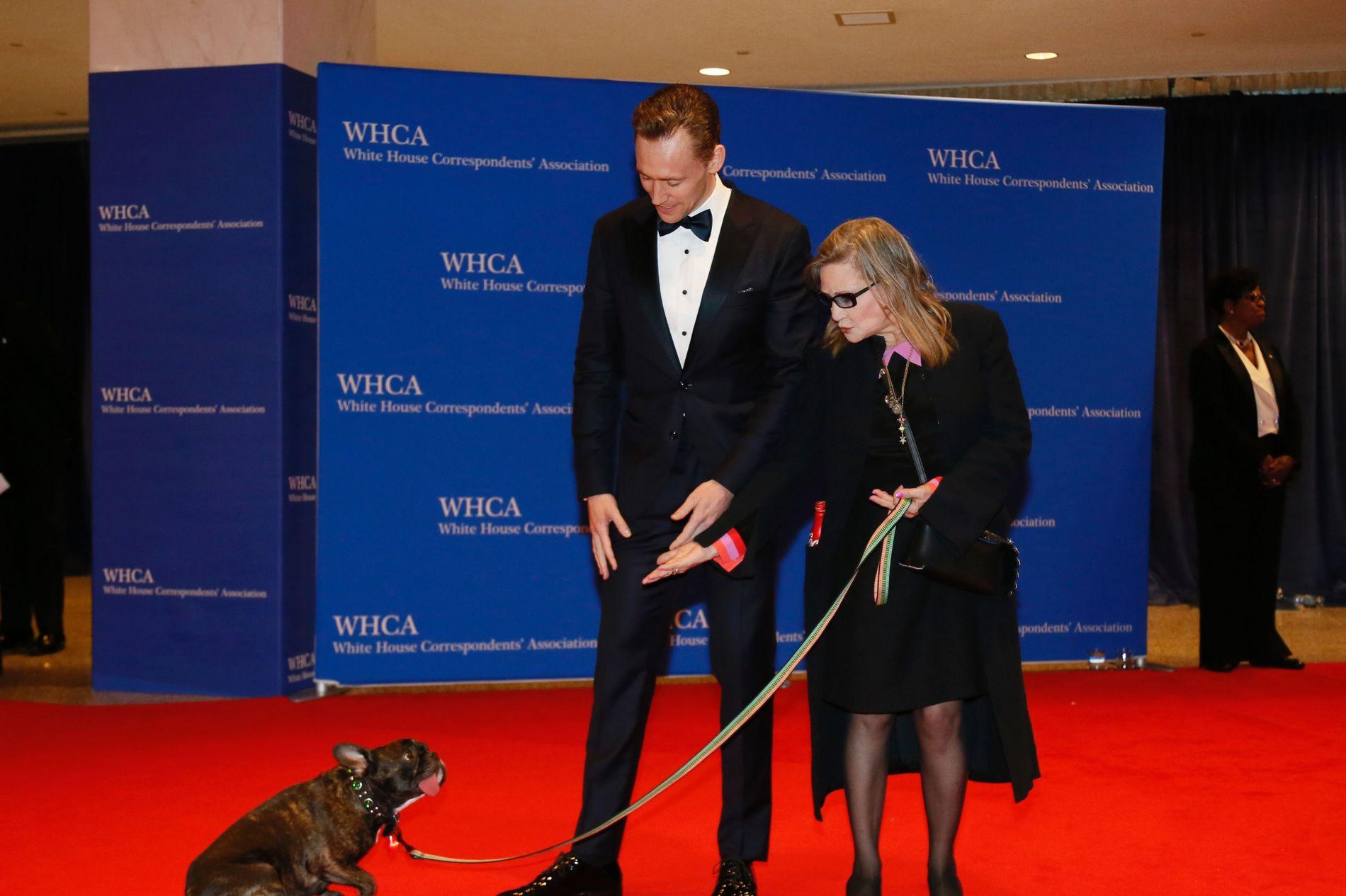 MED BIKKJA PÅ FEST: Skuespillerne Tom Hiddleston og Carrie Fisher kom med hennes hund Gary  til festen i Det Hvite Hus.